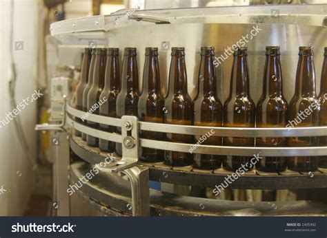 A Root Beer Factory Bottle Filling Line Getting Ready To