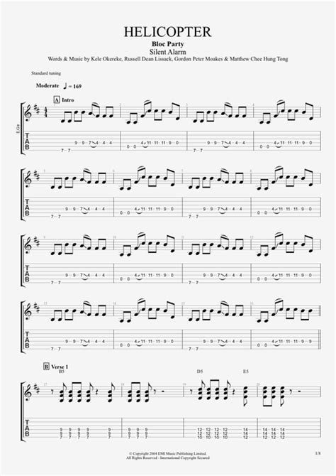 Helicopter by Bloc Party - Full Score Guitar Pro Tab