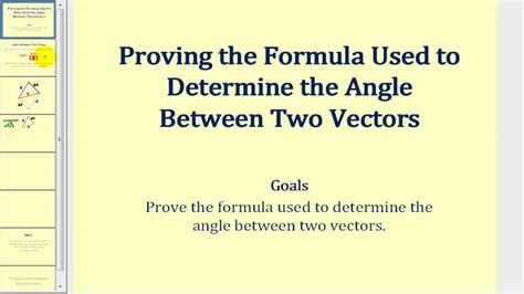 Proving the Formula for the Angle Between Two Vectors